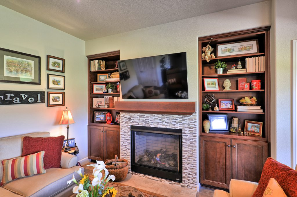 Fireplace with custom built-in bookcases